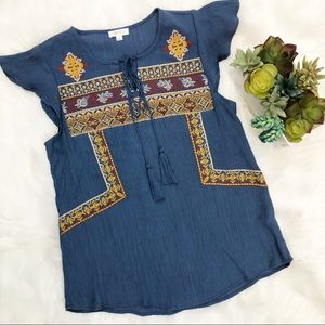 Mine embroidered blue top